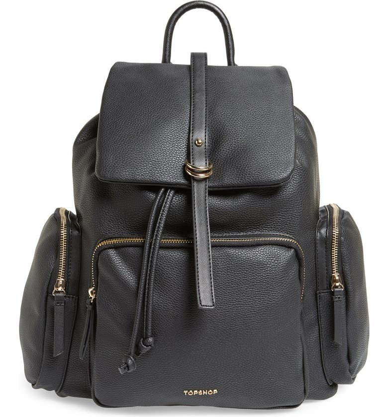 TOPSHOP Faux Leather Backpack, Main, color, 001