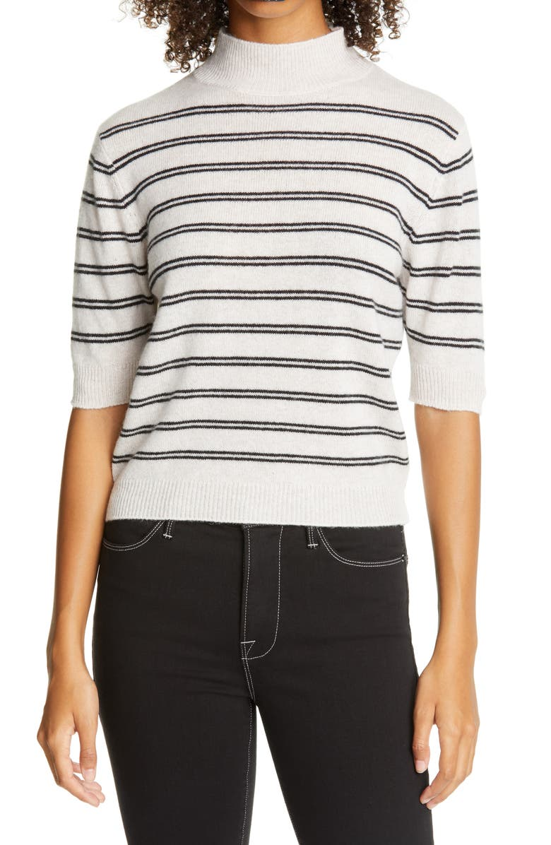 FRAME Stripe Wool & Cashmere Crop Sweater, Main, color, OATMEAL HEATHER MULTI