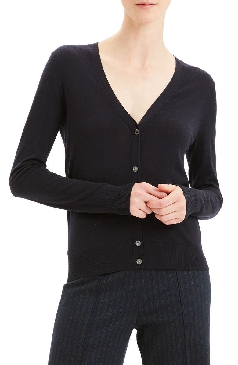 THEORY Regal V-Neck Cardigan, Main, color, 001