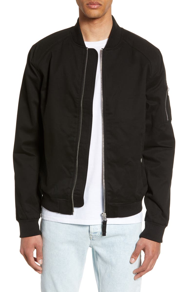 TOPMAN Woven Bomber Jacket, Main, color, 001