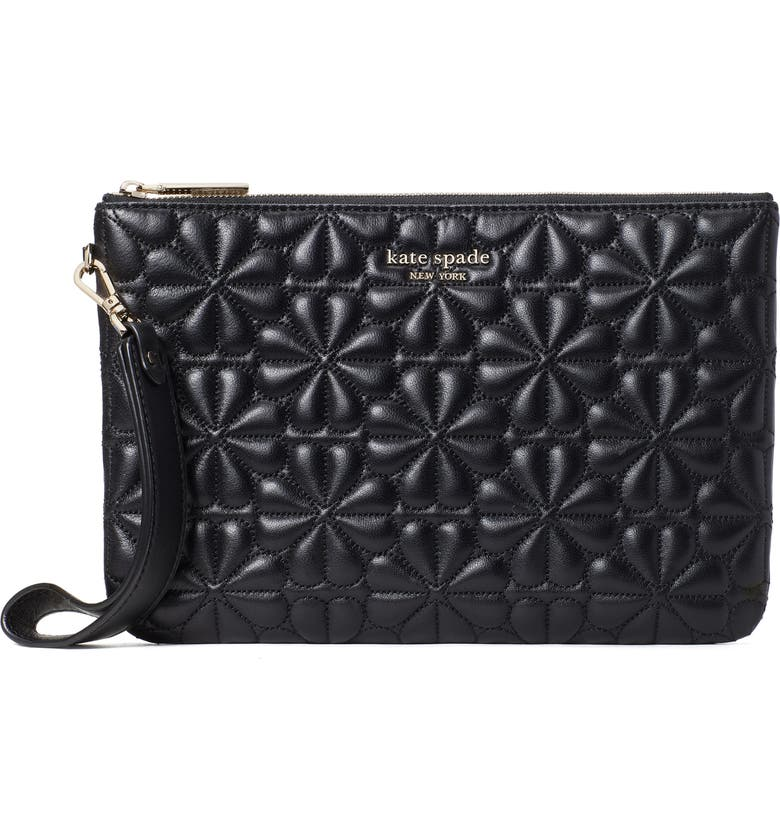 KATE SPADE NEW YORK bloom quilted leather wristlet, Main, color, BLACK