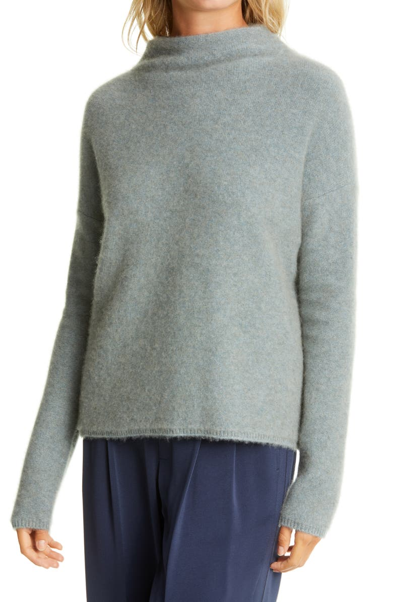 VINCE Funnel Neck Boiled Cashmere Sweater, Main, color, HEATHER PATINA