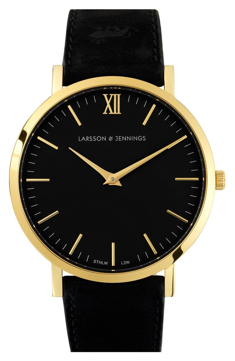 LARSSON & JENNINGS 'Lugano' Leather Strap Watch, 40mm, Main, color, BLACK/ GOLD