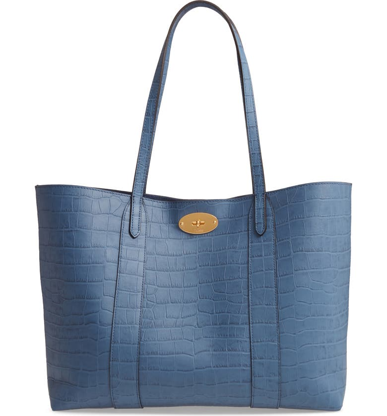 MULBERRY Bayswater Matte Croc Embossed Leather Tote & Pouch, Main, color, PALE NAVY