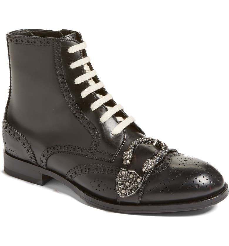 GUCCI Queercore Buckle Strap Wingtip Boot, Main, color, 001