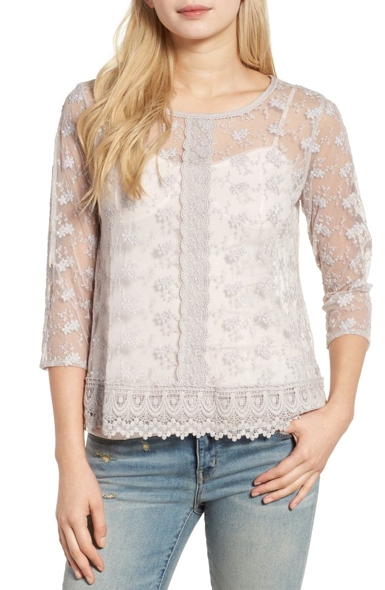 HINGE Embroidered Mesh Top, Main, color, GREY ASH