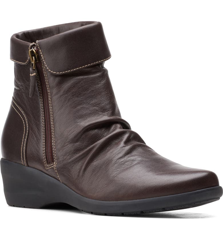 CLARKS<SUP>®</SUP> Rosely Bootie, Main, color, DARK BROWN LEATHER
