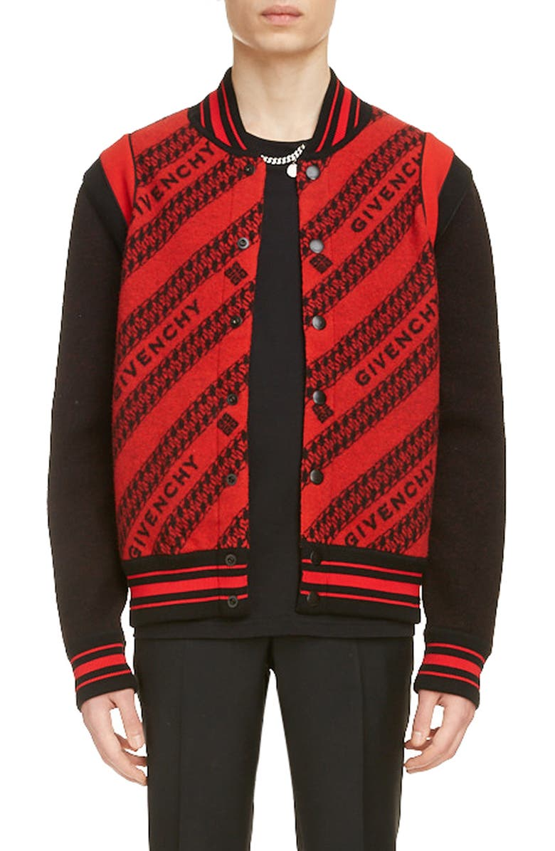 GIVENCHY Jacquard Logo & Chain Link Wool Bomber Jacket, Main, color, RED/ BLACK