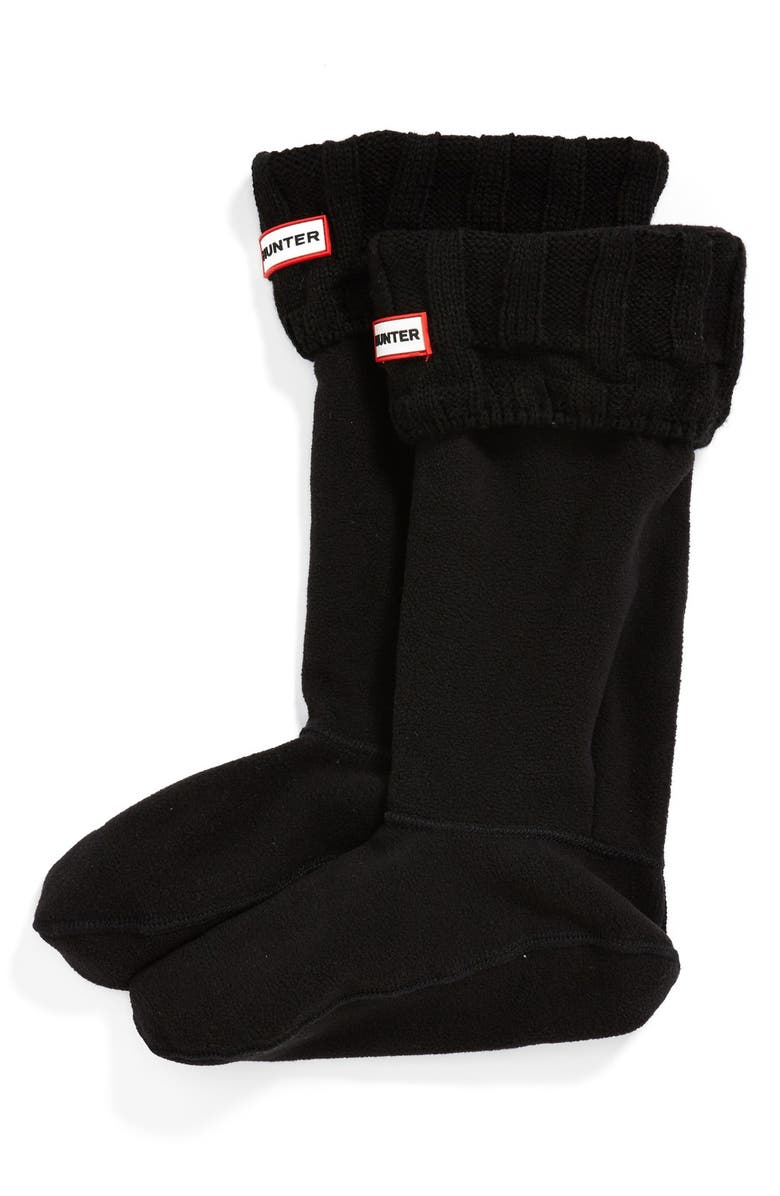 HUNTER 'Guernsey' Tall Fleece Boot Socks, Main, color, 001