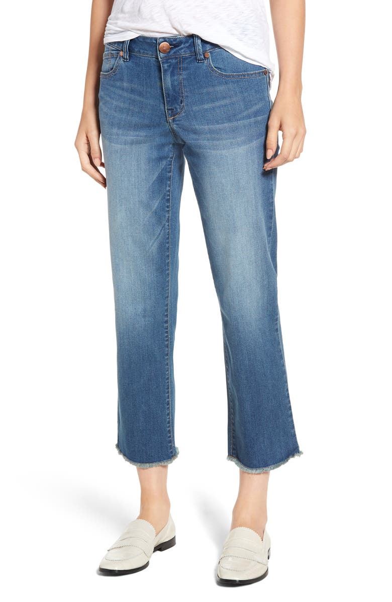 1822 DENIM Frayed Ankle Straight Leg Jeans, Main, color, 400