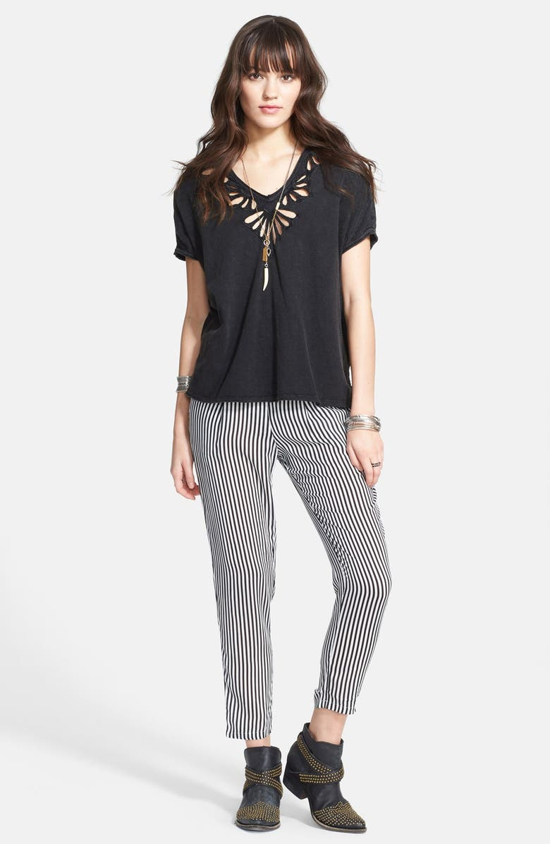 FREE PEOPLE Cutout Double V-Neck Tee, Main, color, 001