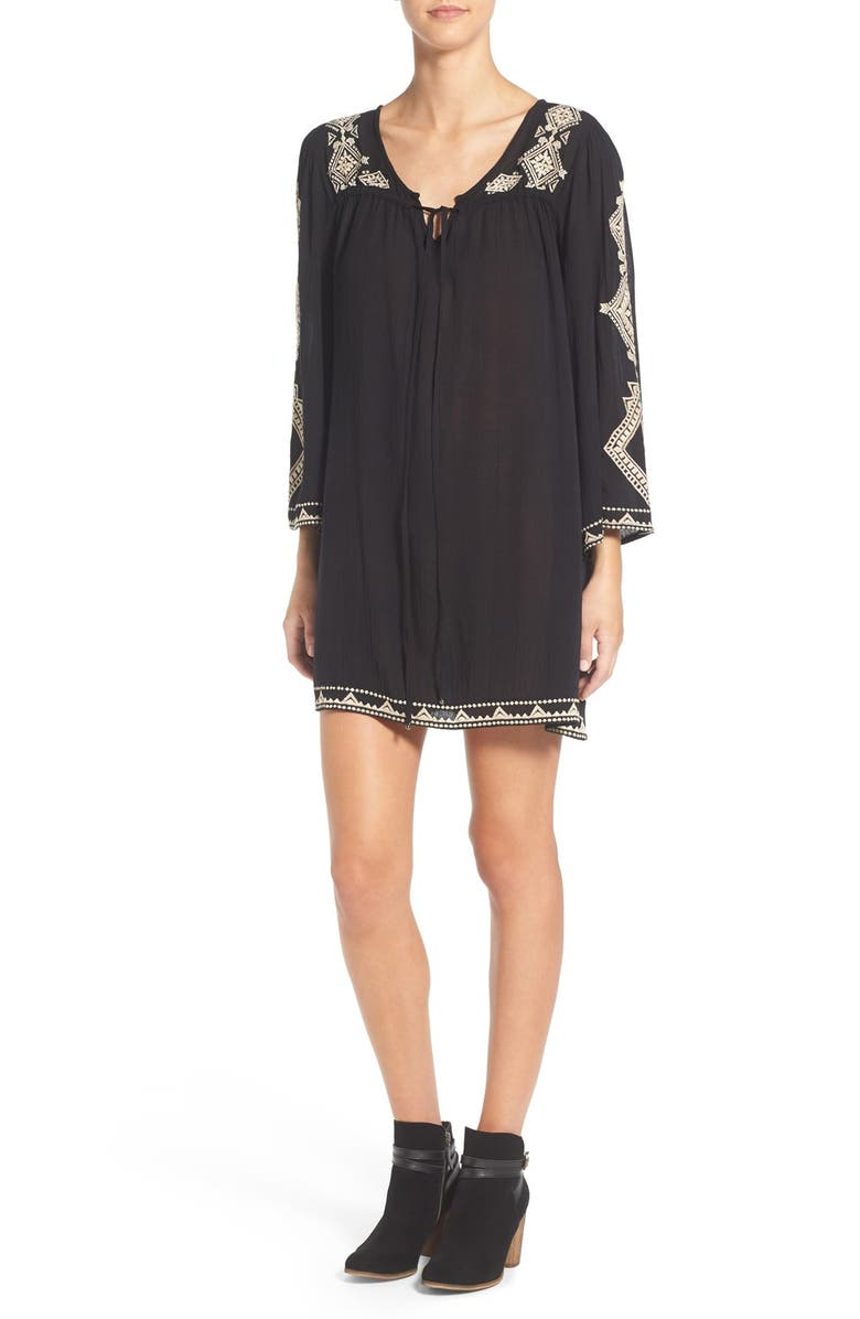 ANGIE Embroidered Tunic Dress, Main, color, BLACK