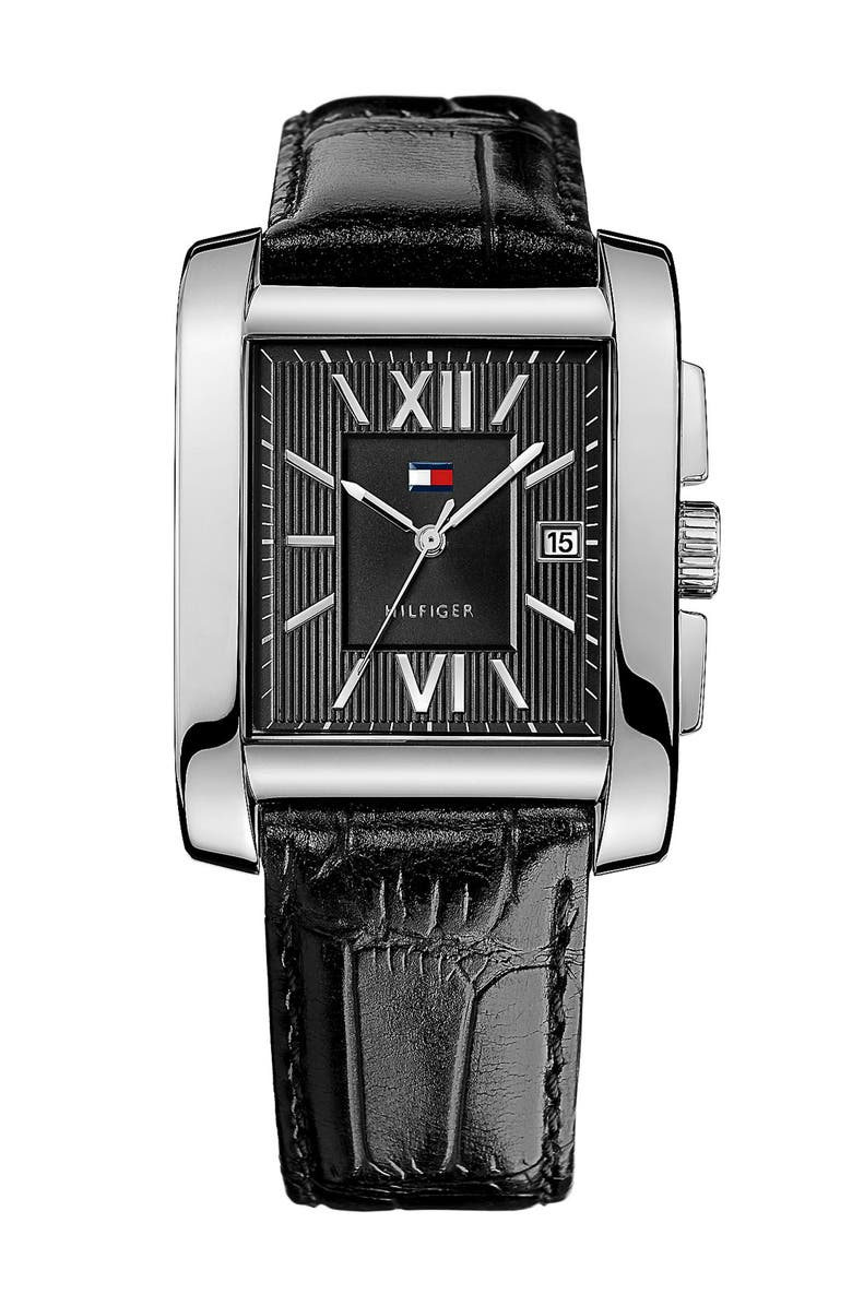 TOMMY HILFIGER Square Leather Strap Watch, 36mm x 47mm, Main, color, 001