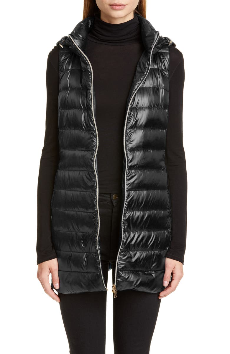 HERNO Long Fitted Down Puffer Vest with Removable Hood, Main, color, Black