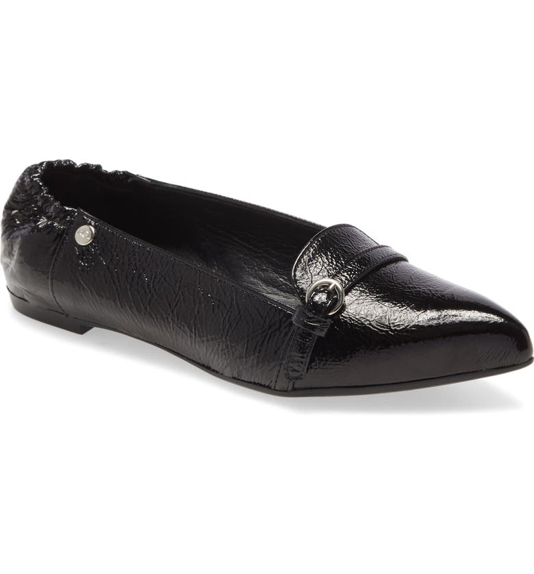 AGL Buckle Detail Pointed Toe Ballet Flat, Main, color, BLACK GLAMMY