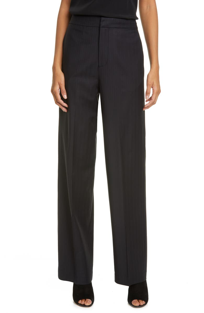 CO Pinstripe Straight Leg Stretch Wool Trousers, Main, color, 001