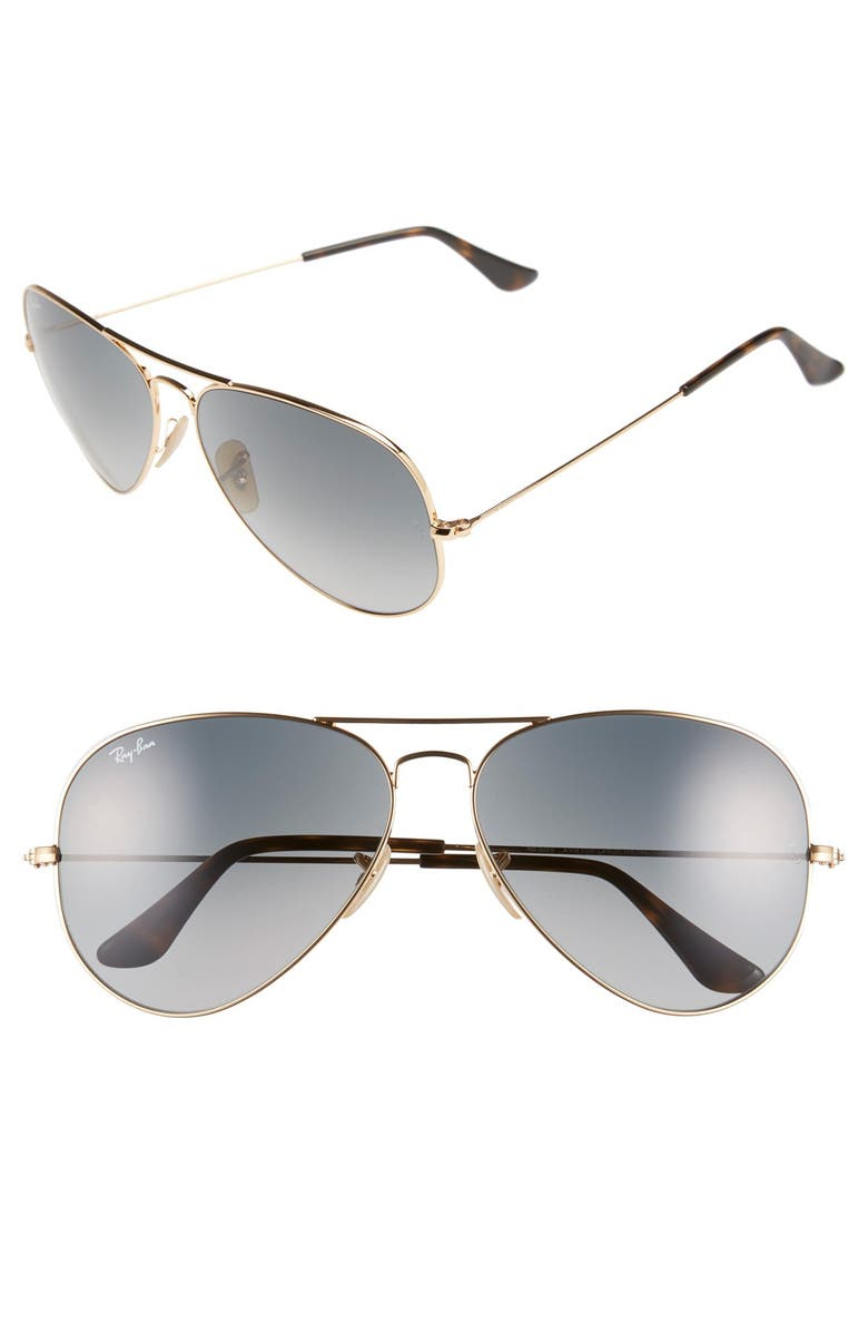 RAY-BAN Large Icons 62mm Aviator Sunglasses, Main, color, 710