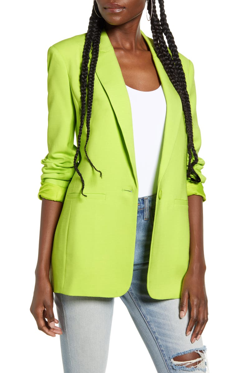 ENDLESS ROSE Tailored Blazer, Main, color, LIME