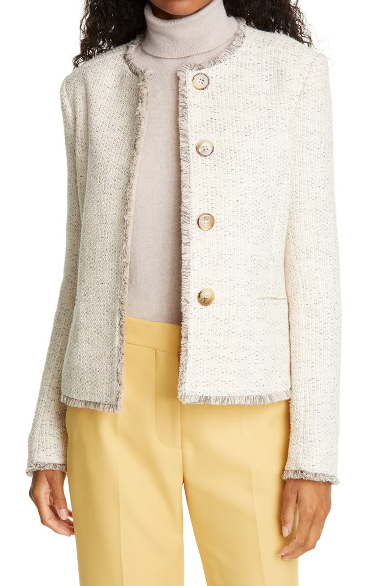 HELENE BERMAN Judy Crop Tweed Jacket, Main, color, BEIGE