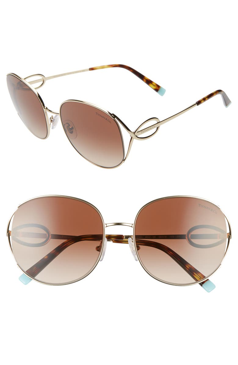 TIFFANY & CO. 56mm Gradient Round Sunglasses, Main, color, PALE GOLD/ BROWN GRADIENT