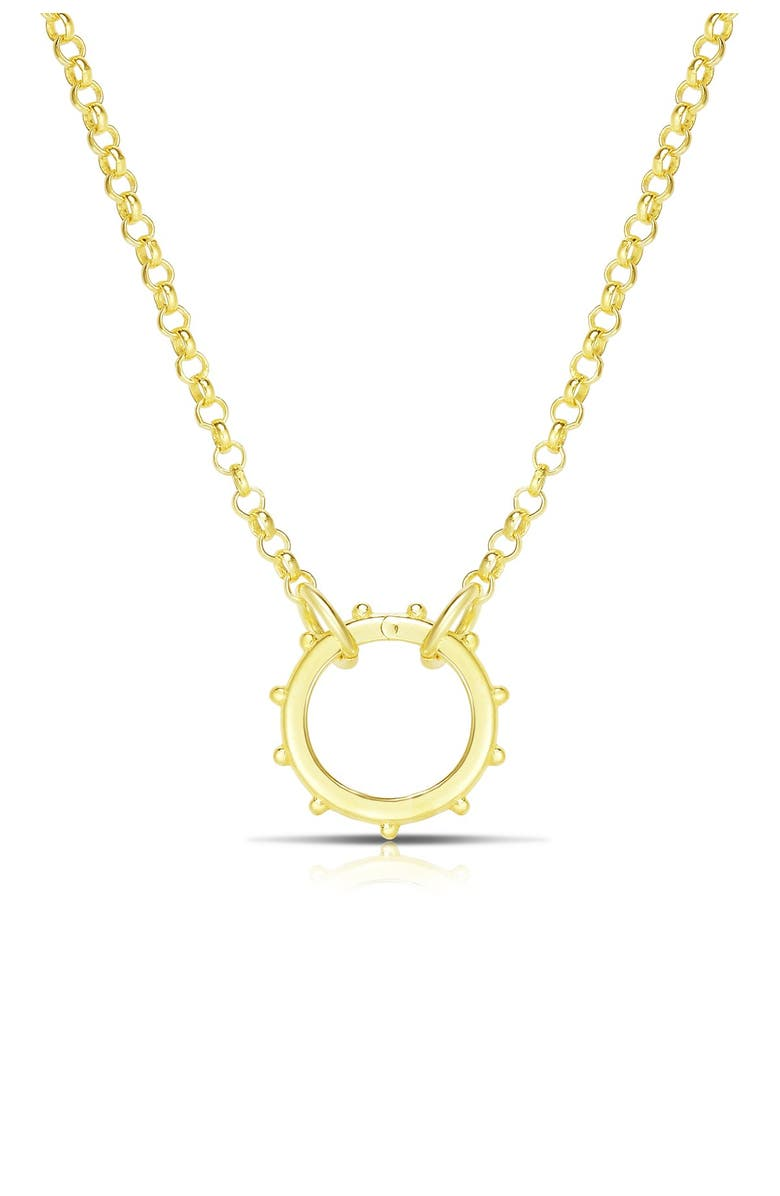 SPHERA MILANO 14K Yellow Gold Plated Sterling Silver Rolo Link Chain Wheel Pendant Necklace, Main, color, YELLOW GOLD