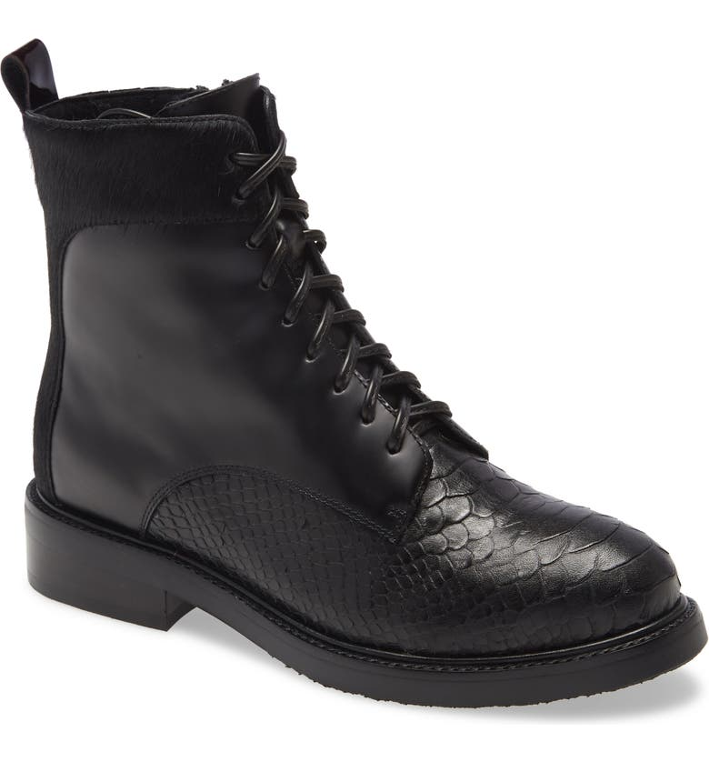 JEFFREY CAMPBELL Fischer Lace-Up Leather Boot, Main, color, BLACK SNAKE COMBO