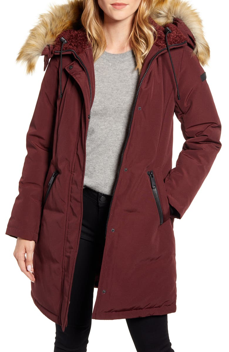 SAM EDELMAN Faux Fur Trim Down Parka, Main, color, BURGUNDY