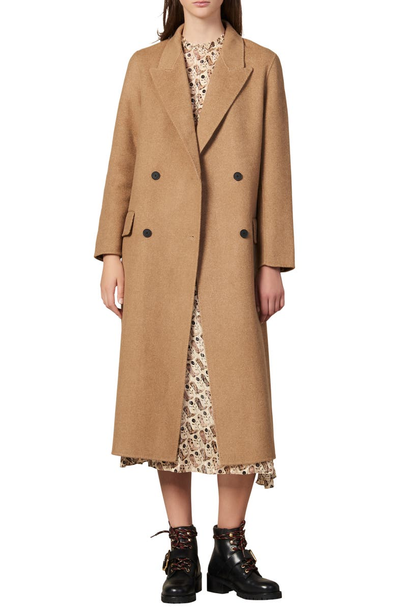 SANDRO Jims Double Breasted Wool Coat, Main, color, 250