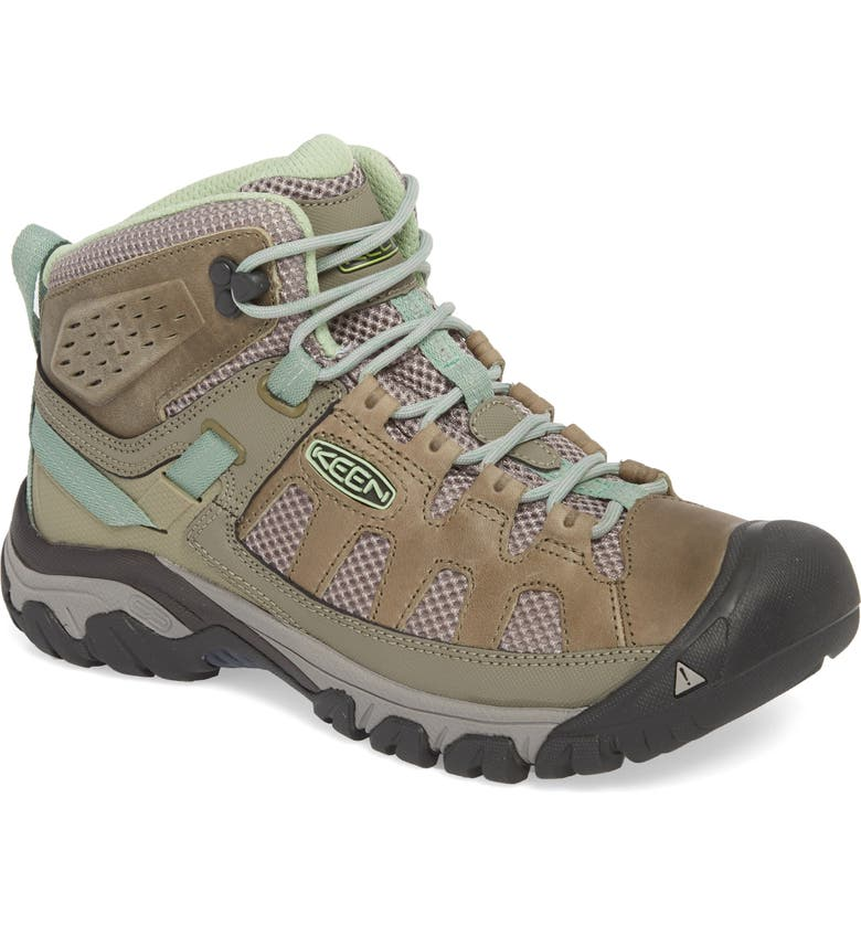 KEEN Targhee Vent Mid Hiking Shoe, Main, color, FUMO/ QUIET GREEN LEATHER