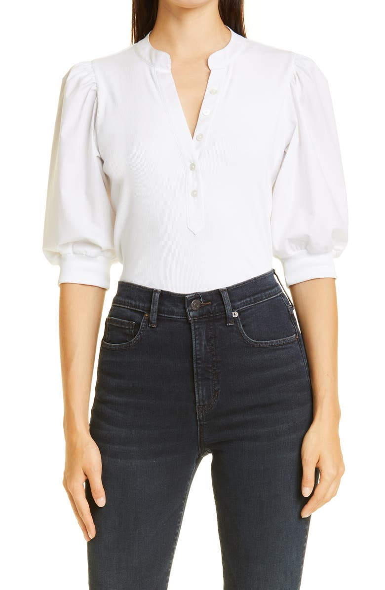 VERONICA BEARD Coralee Front Button Blouse, Main, color, WHITE