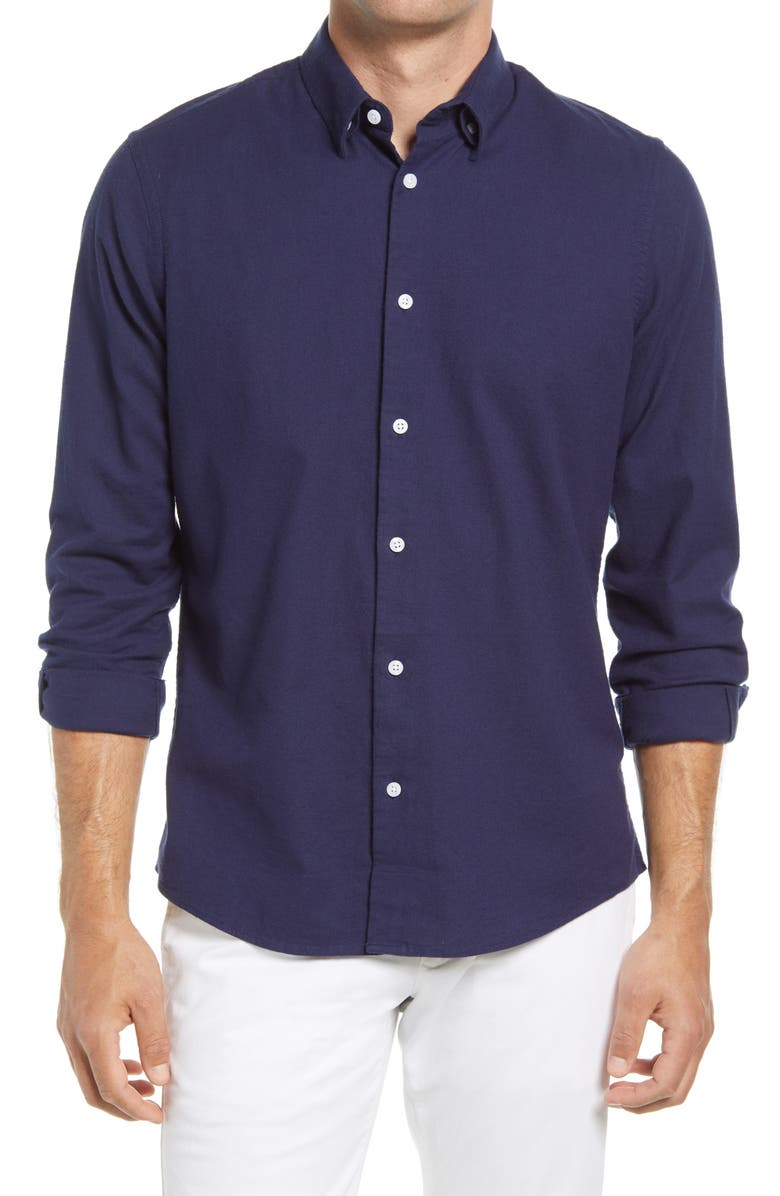 NORDSTROM Oxford Button-Up Performance Shirt, Main, color, NAVY PEACOAT