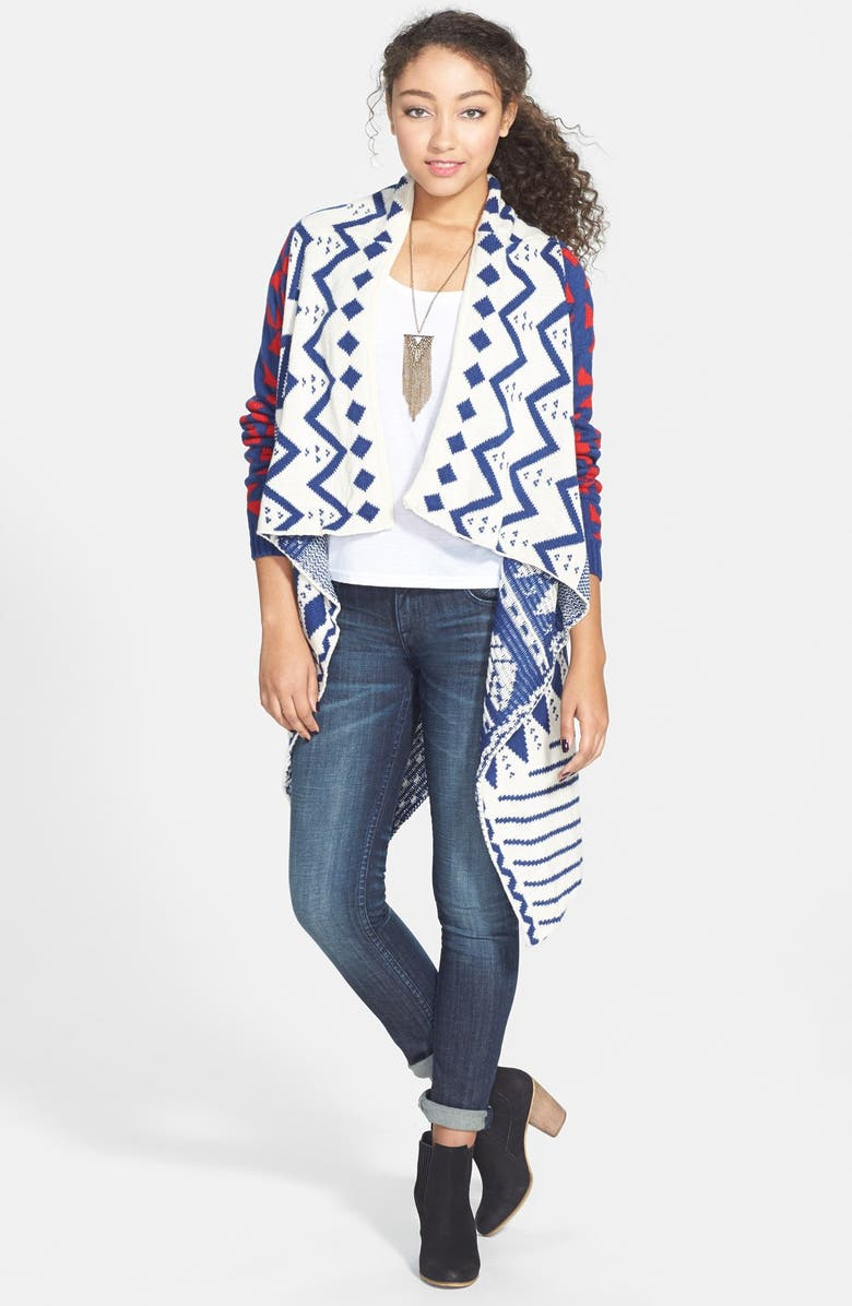 WOVEN HEART Print Duster, Main, color, Blue