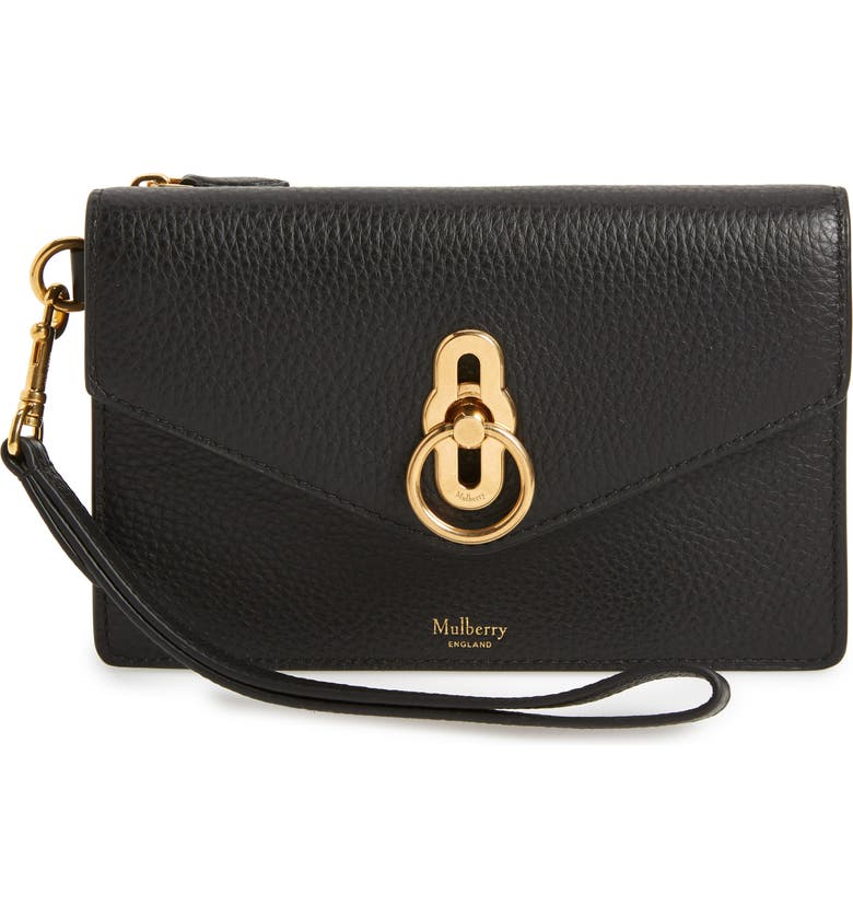 MULBERRY Amberley iPhone Leather Clutch, Main, color, Black