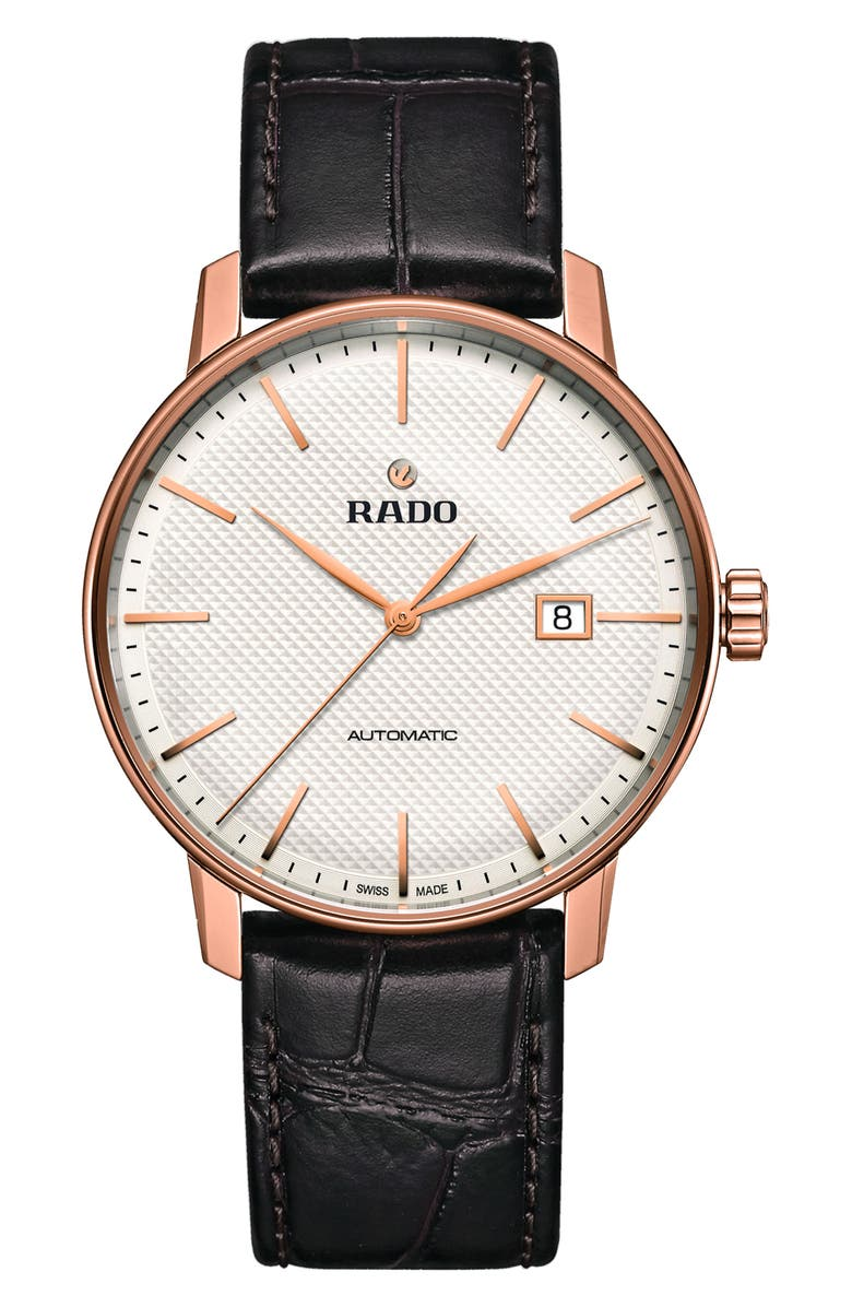 RADO Coupole Classic Automatic Embossed Leather Strap Watch, 41mm, Main, color, BROWN/ WHITE/ ROSE GOLD