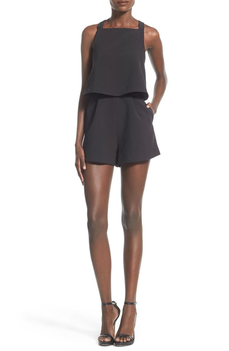 KEEPSAKE THE LABEL 'Learnt From You' Romper, Main, color, Black