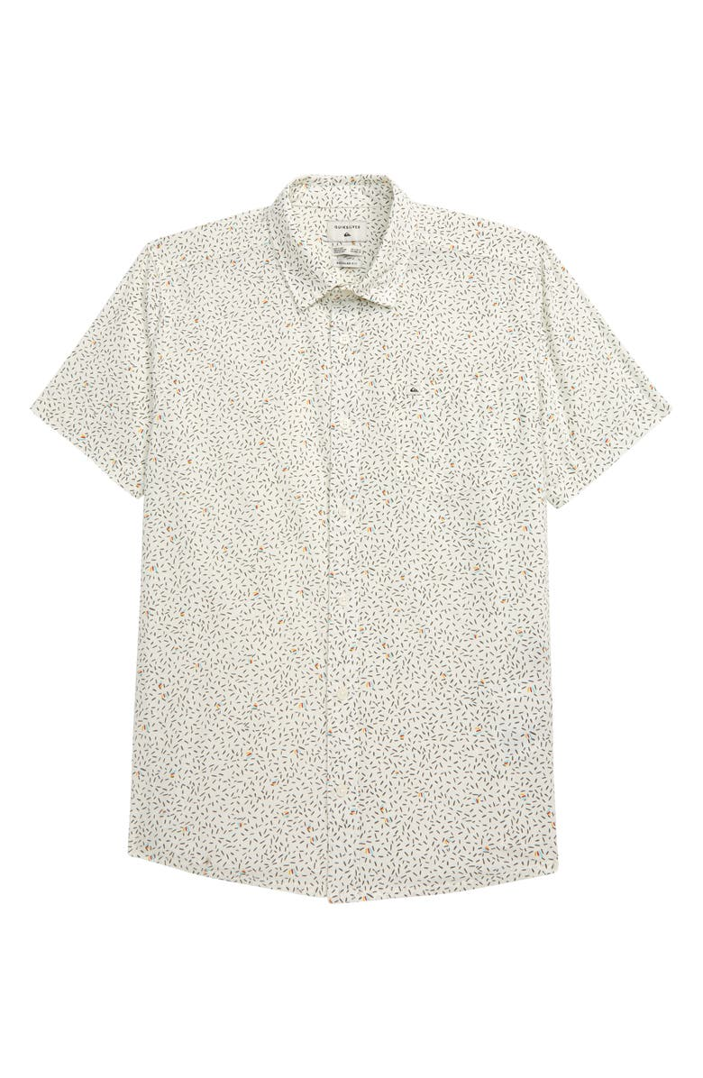 QUIKSILVER Spilled Rice Short Sleeve Button-Up Shirt, Main, color, SNOW WHITE
