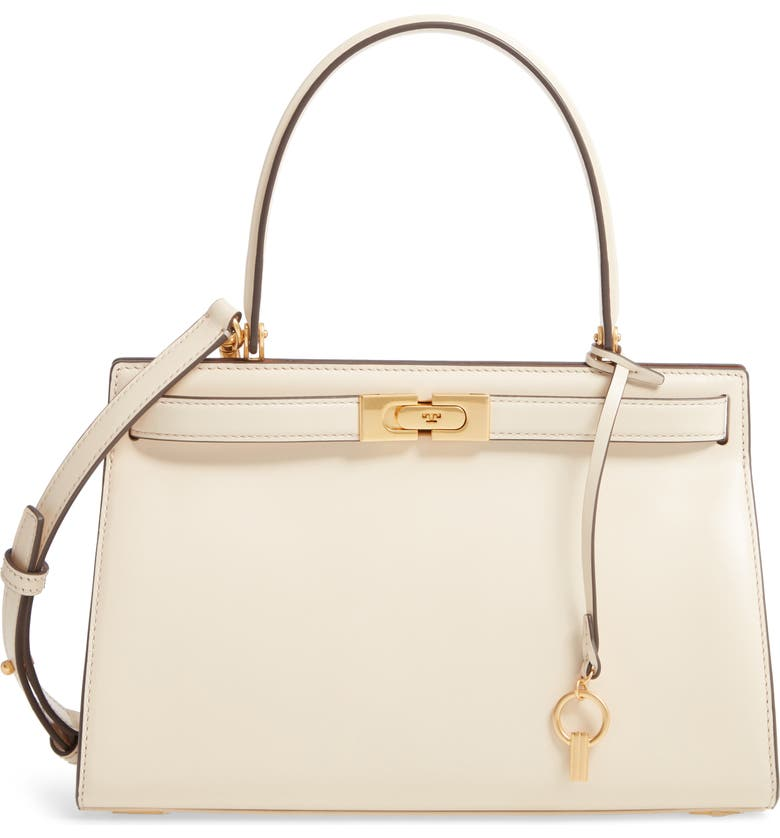 TORY BURCH Small Lee Radziwill Leather Bag, Main, color, NEW CREAM