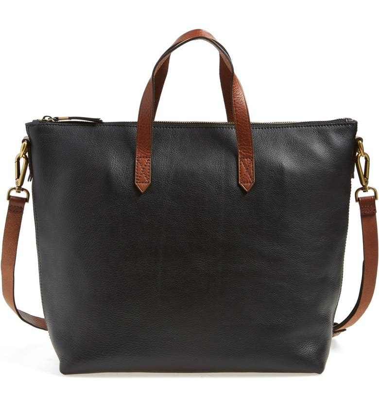 MADEWELL Leather Transport Satchel, Main, color, 001