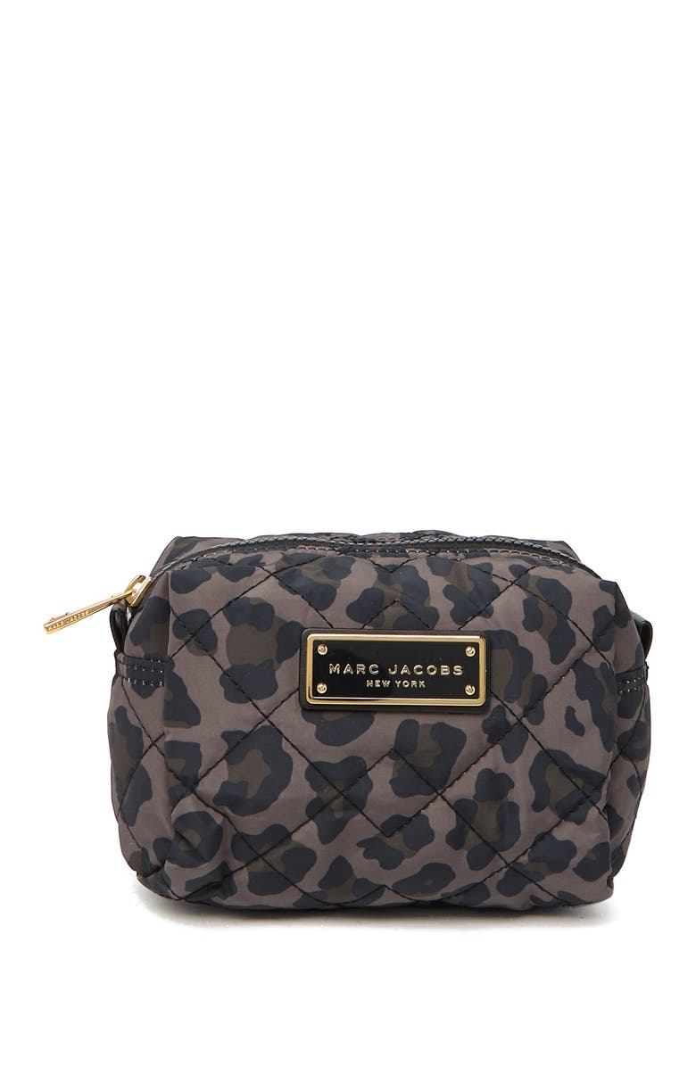 MARC JACOBS Leopard Print Quilted Nylon Cosmetics Case, Main, color, SPANISH MOSS LEOPARD MULTI