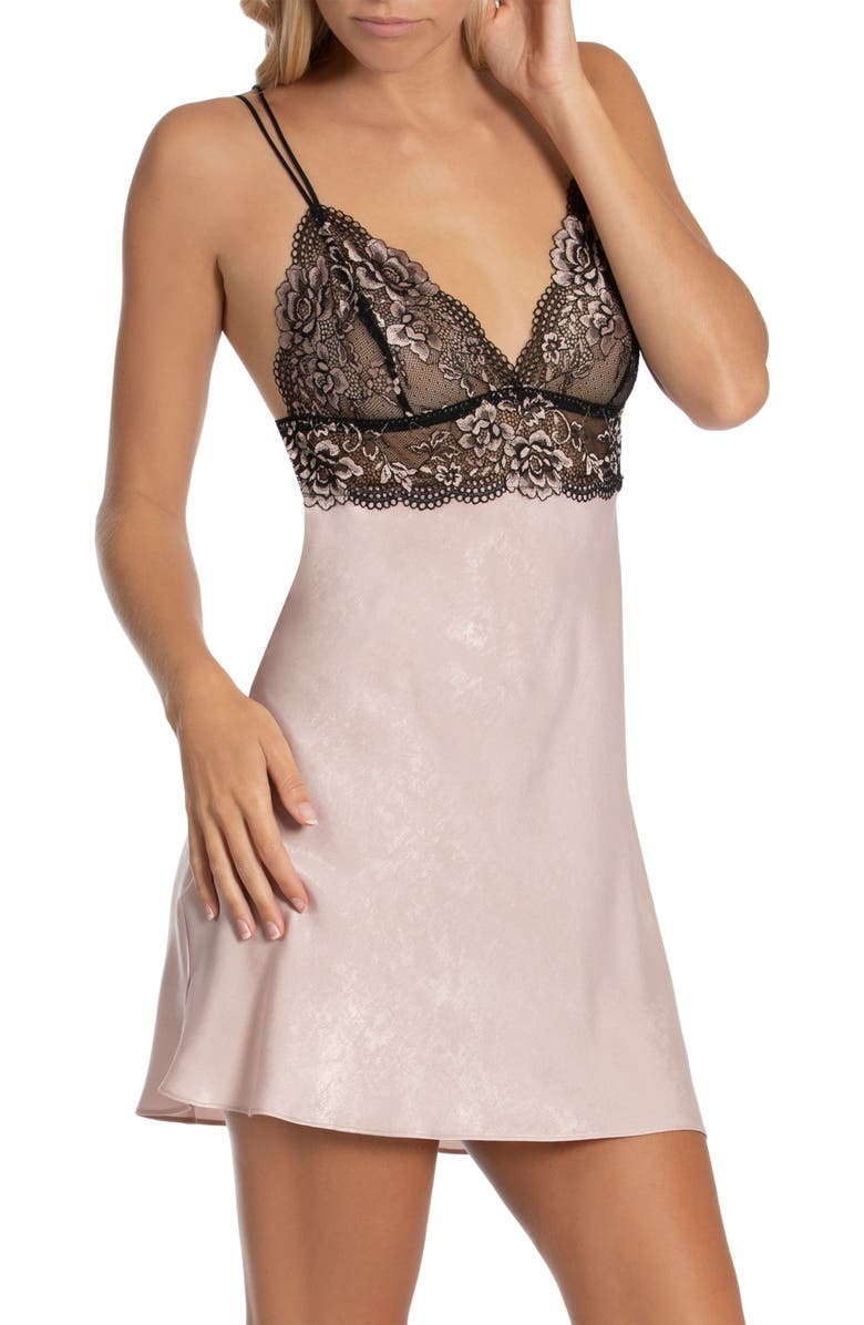 IN BLOOM BY JONQUIL Wren Lace Satin Chemise, Main, color, SHADOW PINK