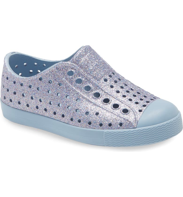 NATIVE SHOES Jefferson Bling Glitter Slip-On Vegan Sneaker, Main, color, BLUE