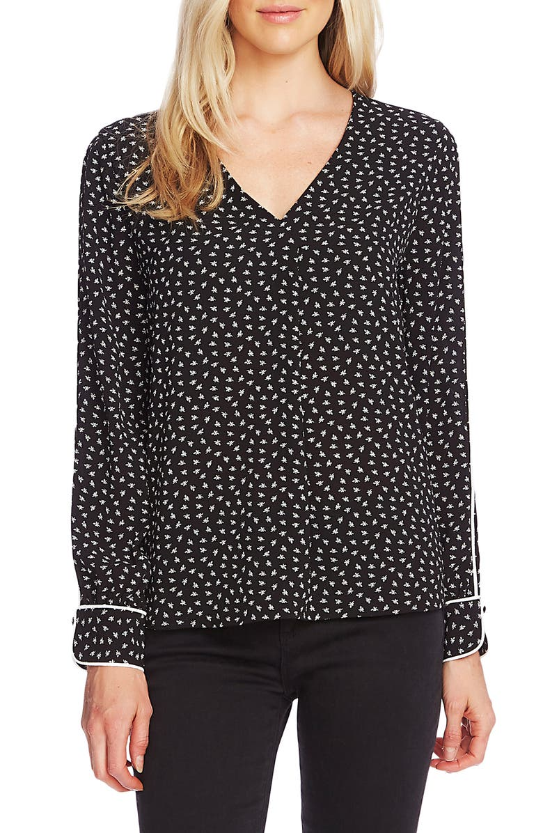 VINCE CAMUTO Ditsy Zone Long Sleeve Blouse, Main, color, 001