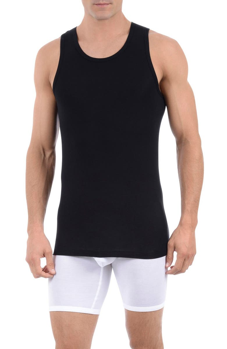 TOMMY JOHN Second Skin Tank Undershirt, Main, color, BLACK