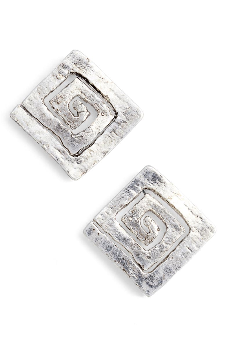 KARINE SULTAN Square Stud Earrings, Main, color, SILVER