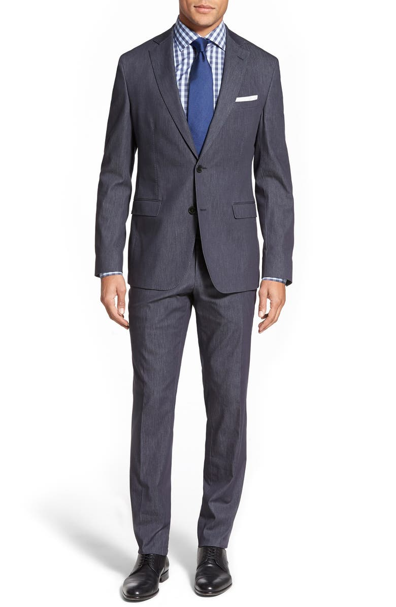 ZZDNUHUGO BOSS BOSS 'Reyno/Wave' Trim Fit Solid Cotton Blend Suit, Main, color, 460