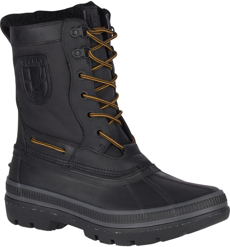 SPERRY Ice Bay Tall Waterproof Snow Boot, Main, color, BLACK