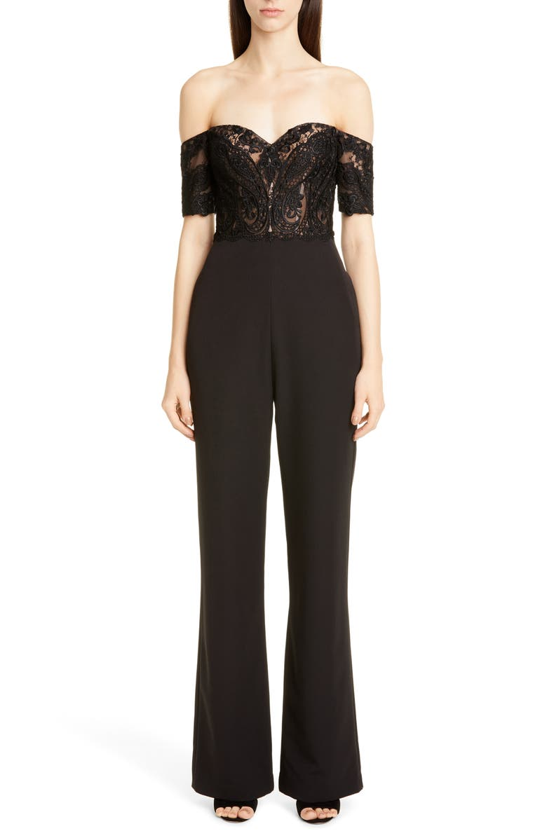 BADGLEY MISCHKA COLLECTION Off the Shoulder Lace Jumpsuit, Main, color, Black