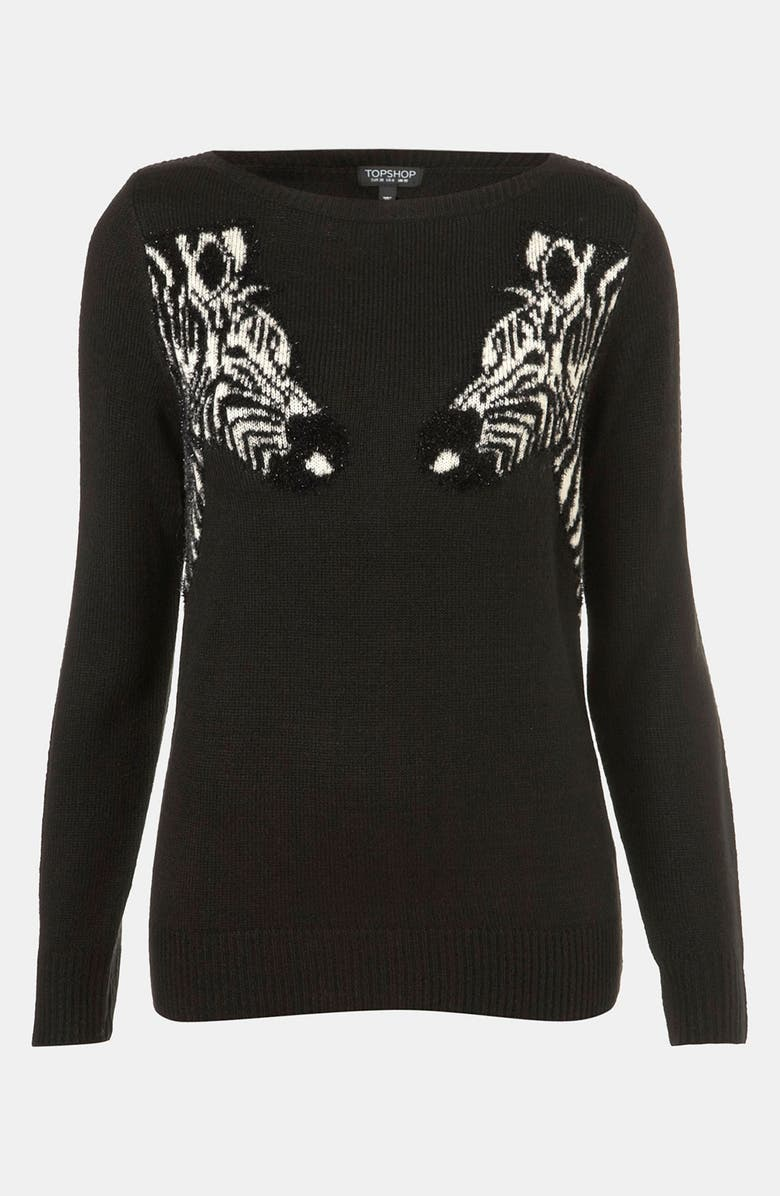 TOPSHOP 'Mirrored Zebras' Sweater, Main, color, 001