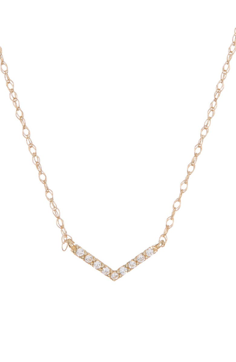 CANDELA JEWELRY 10K Yellow Gold CZ Chevron Necklace, Main, color, GOLD