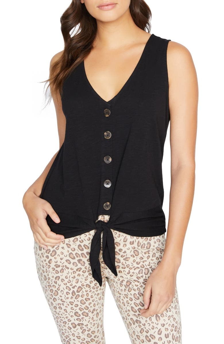 SANCTUARY Tie To Keep Up Cotton Blend Sleeveless Top, Main, color, NO_COLOR